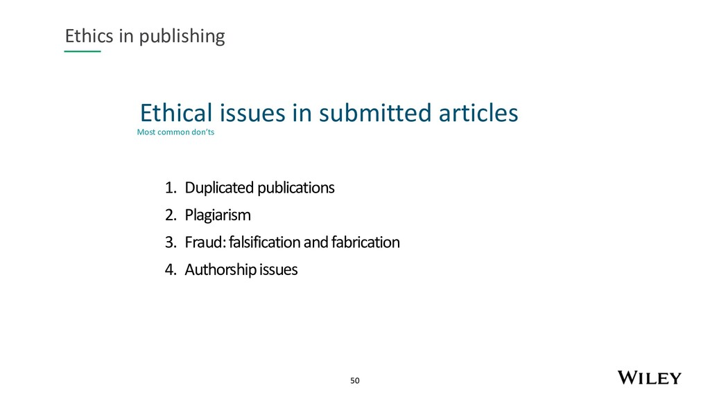 50 Ethical issues in submitted articles Ethics ...