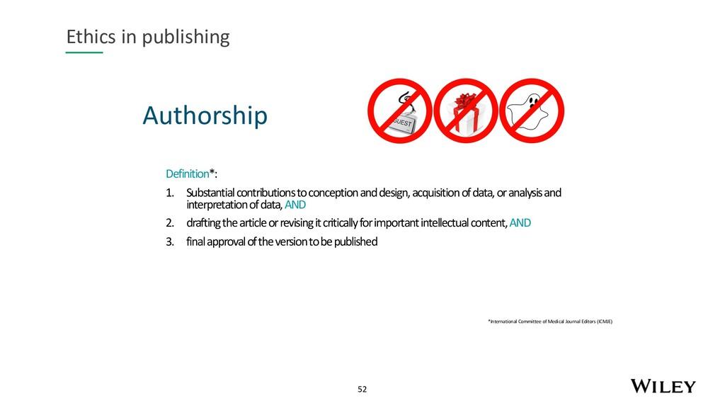 52 Authorship Ethics in publishing Definition*:...