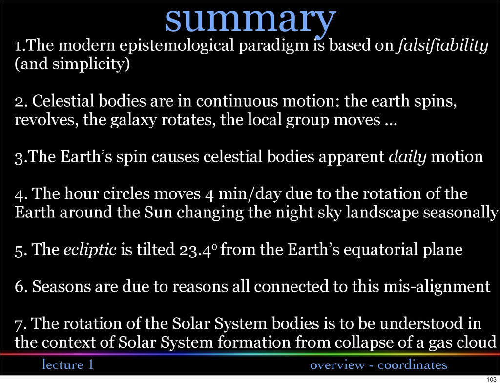 lecture 1 overview - coordinates summary 1.The ...