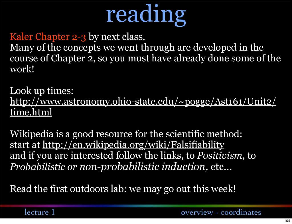 lecture 1 overview - coordinates reading Kaler ...