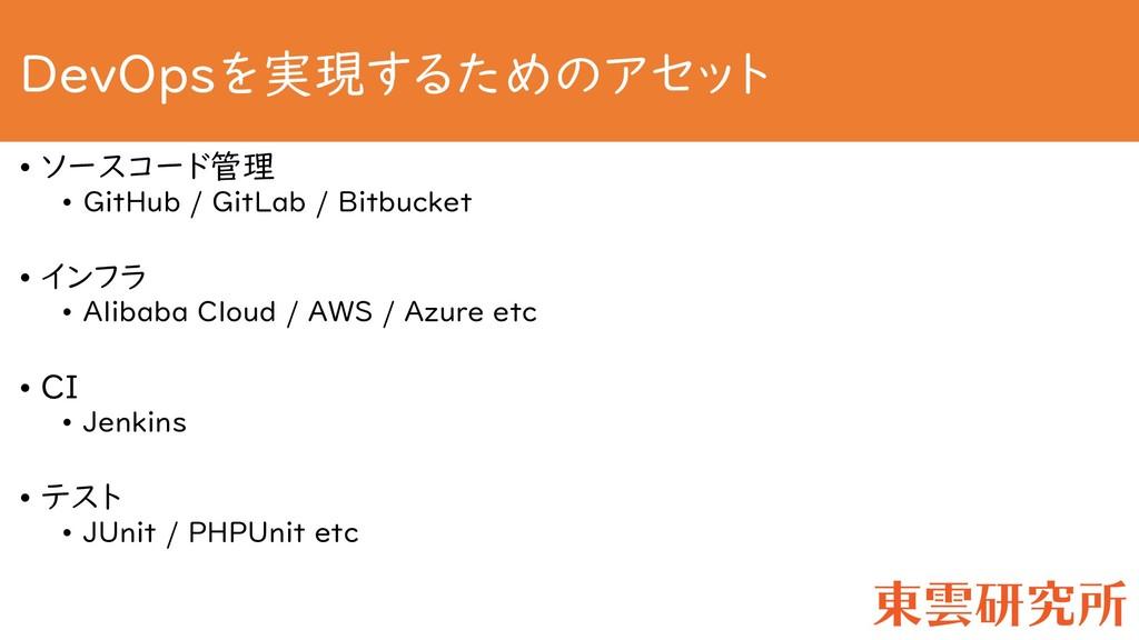 DevOpsを実現するためのアセット • ソースコード管理 • GitHub / GitLab...