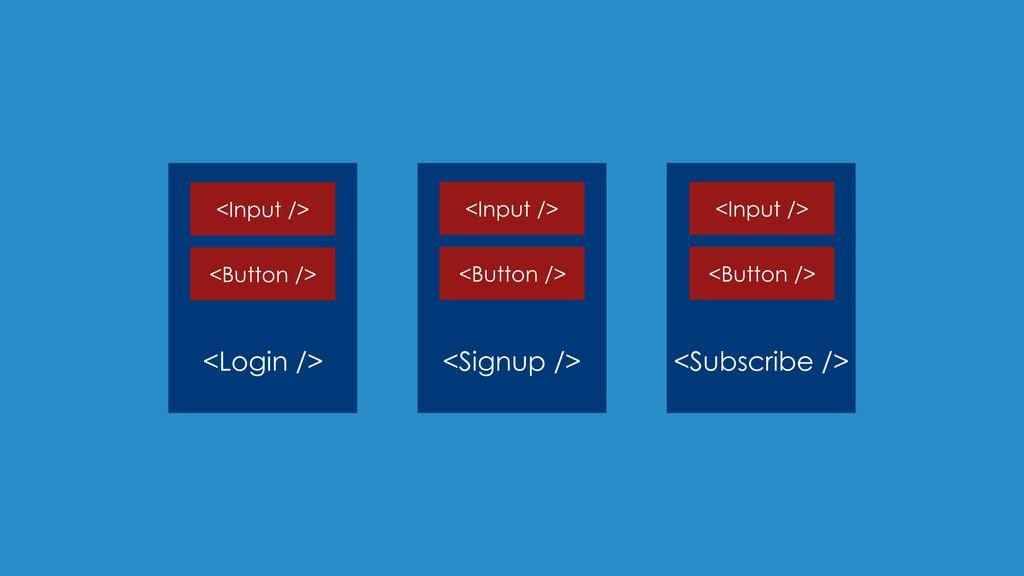 <Login /> <Signup /> <Subscribe /> <Input /> <B...