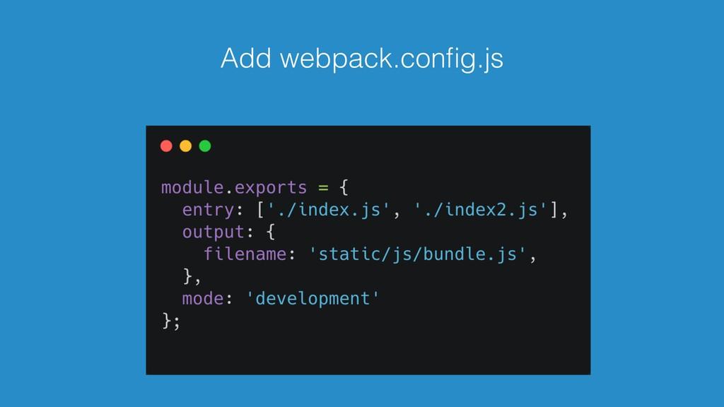 Add webpack.config.js