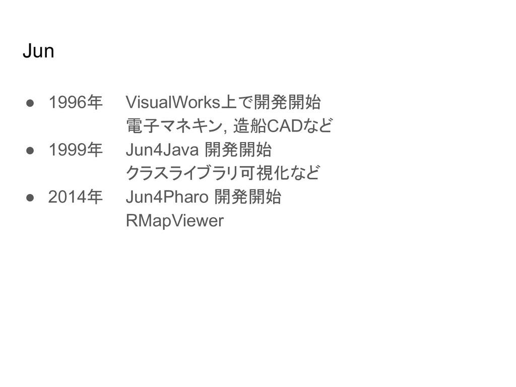 Jun ● 1996年 VisualWorks上で開発開始 電子マネキン, 造船CADなど ●...