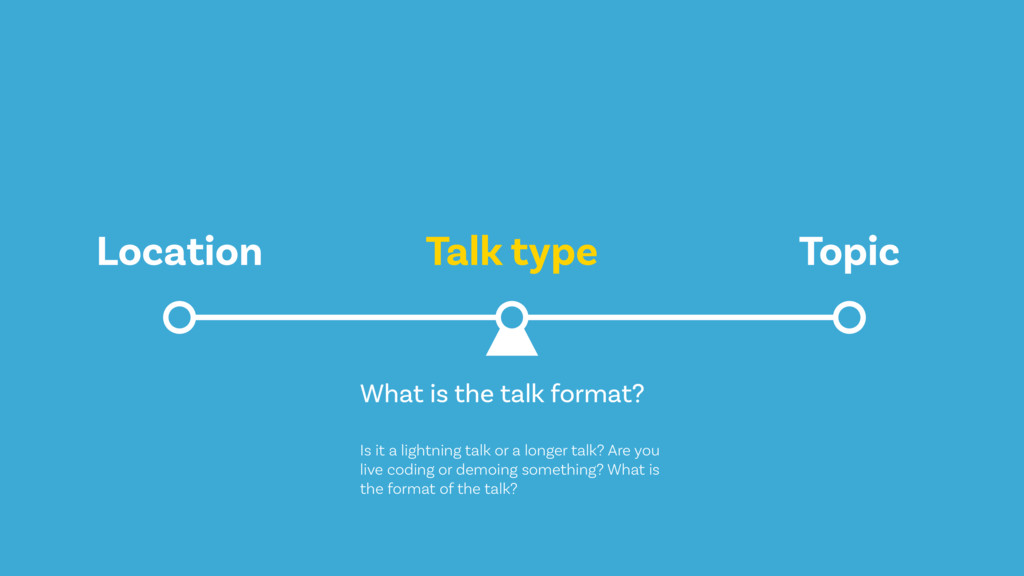Talk type Location Topic What is the talk forma...