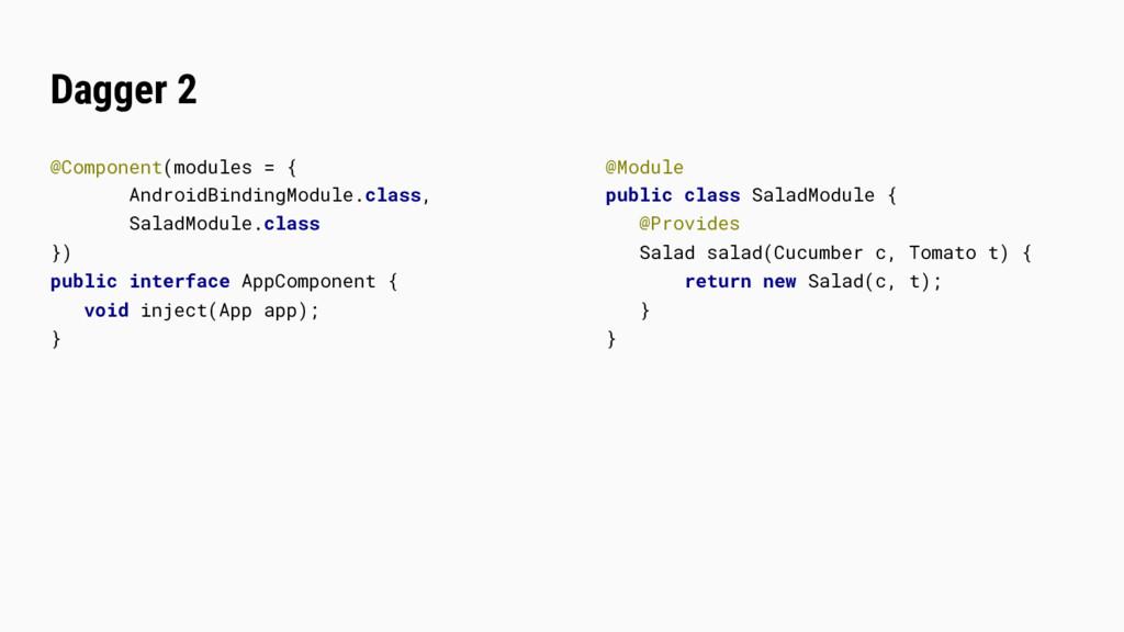 Dagger 2 @Component(modules = { AndroidBindingM...