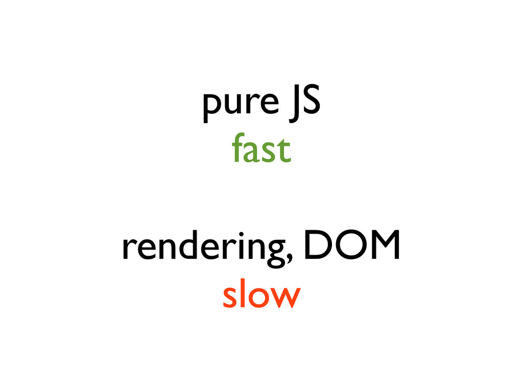 pure JS fast rendering, DOM slow