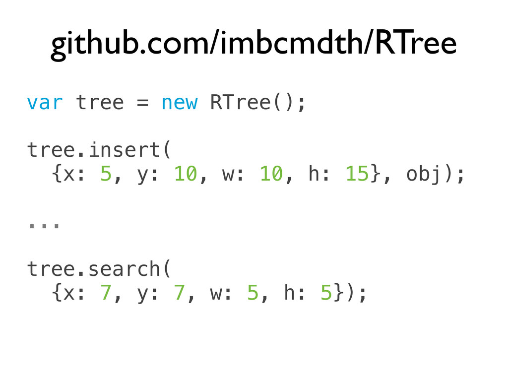 var tree = new RTree(); tree.insert( {x: 5, y: ...