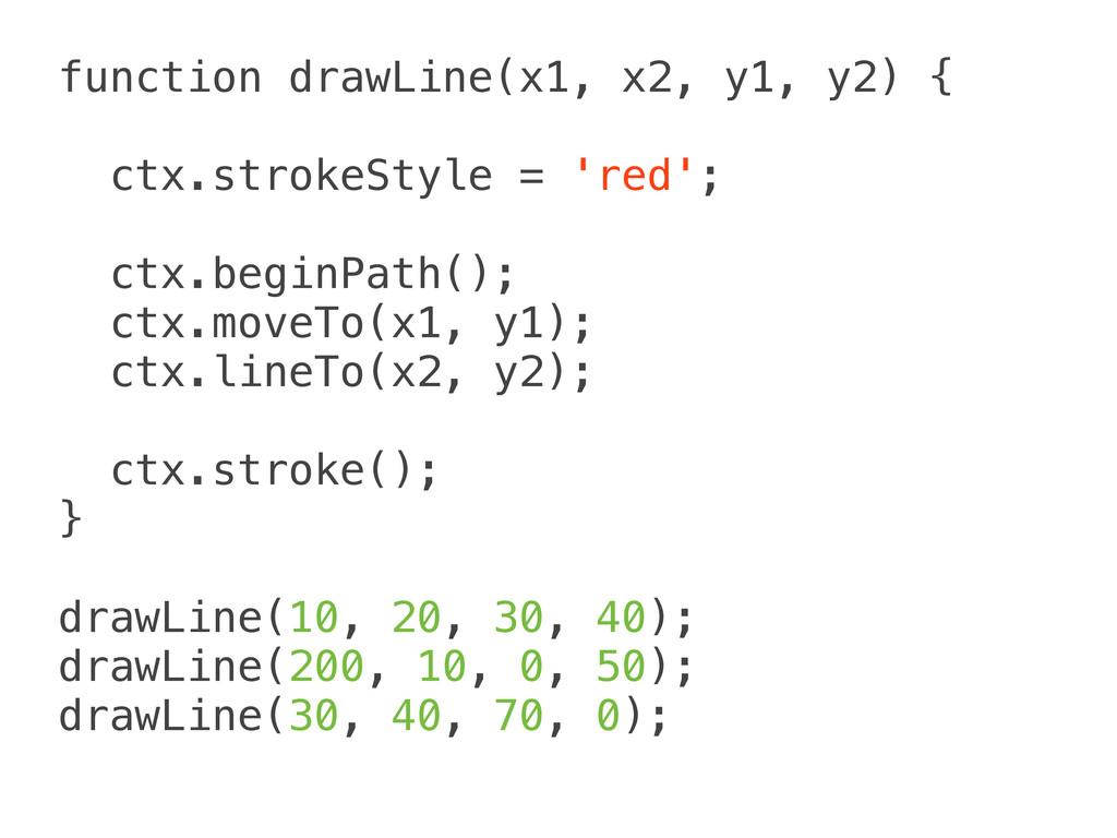 function drawLine(x1, x2, y1, y2) { ctx.strokeS...
