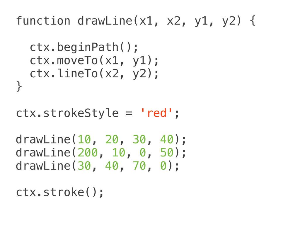 function drawLine(x1, x2, y1, y2) { ctx.beginPa...