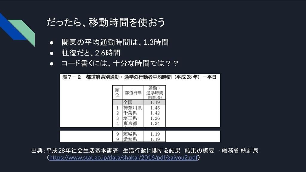 だったら、移動時間を使おう ● 関東の平均通勤時間は、1.3時間 ● 往復だと、2.6時間 ●...