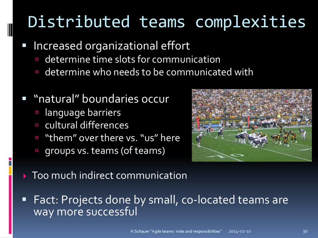 Distributed teams complexities  Increased orga...