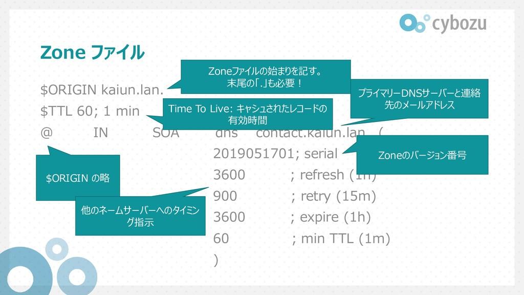 Zone ファイル $ORIGIN kaiun.lan. $TTL 60; 1 min @ I...