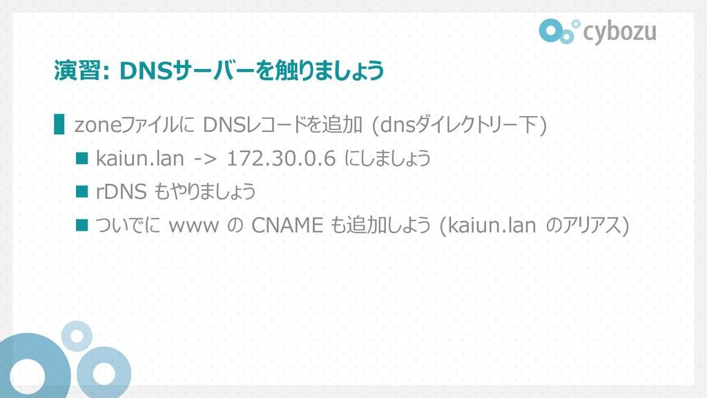 演習: DNSサーバーを触りましょう ▌zoneファイルに DNSレコードを追加 (dnsダイ...