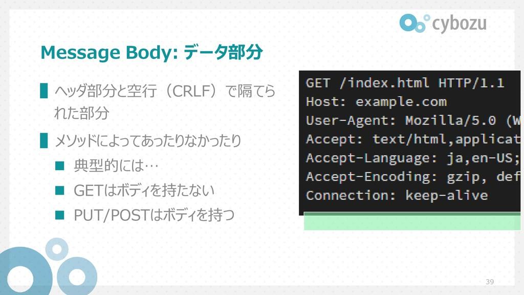 Message Body: データ部分 39 ▌ヘッダ部分と空行(CRLF)で隔てら れた部分...
