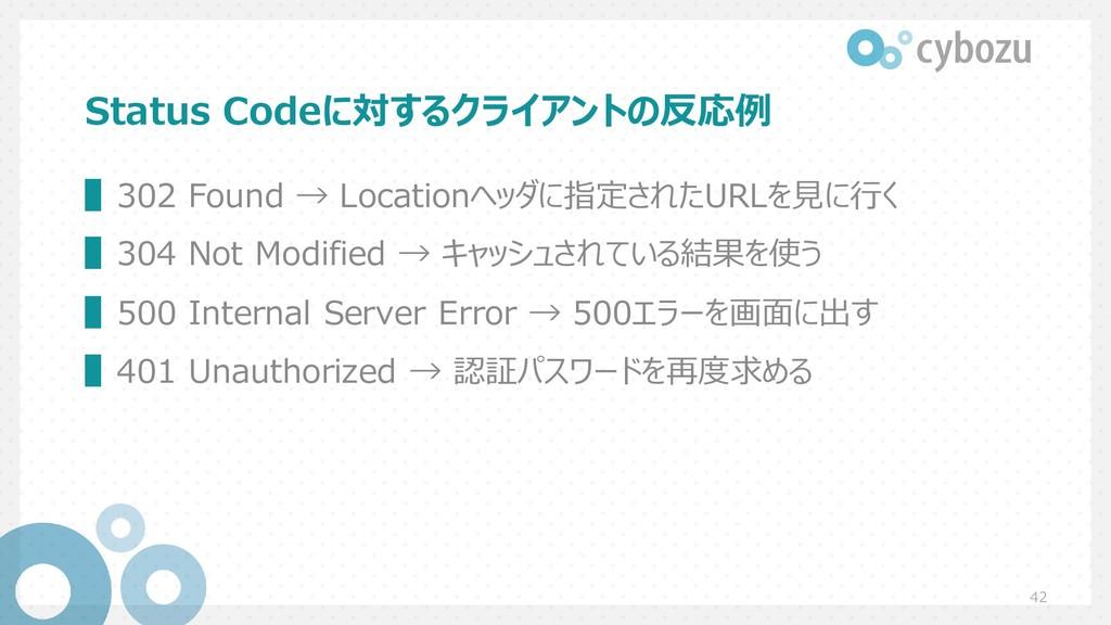 Status Codeに対するクライアントの反応例 ▌302 Found → Location...