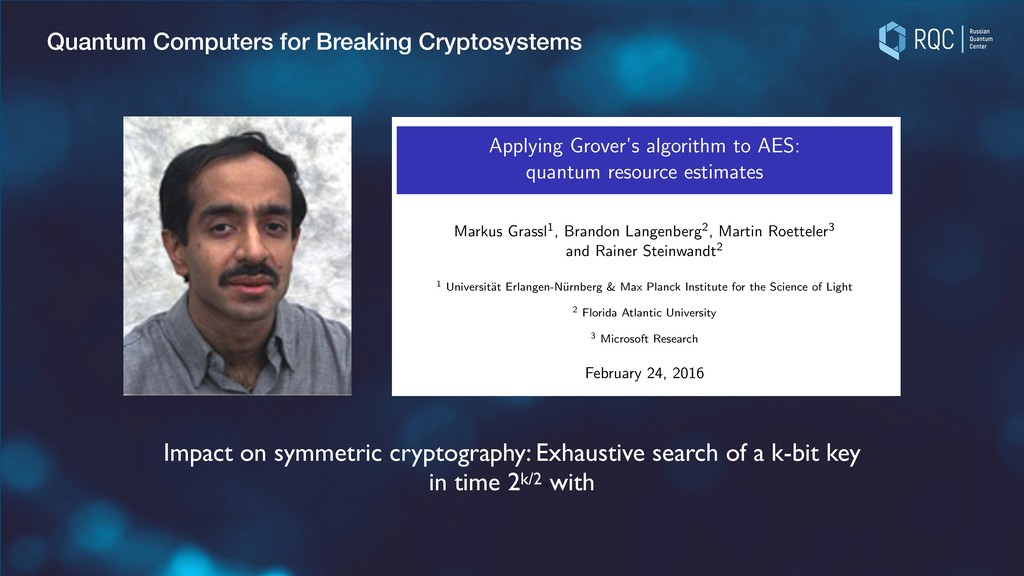 Quantum Computers for Breaking Cryptosystems e ...