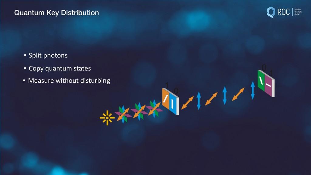 Quantum Key Distribution • Measure without dist...