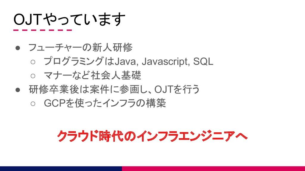 OJTやっています ● フューチャーの新人研修 ○ プログラミングはJava, Javascr...