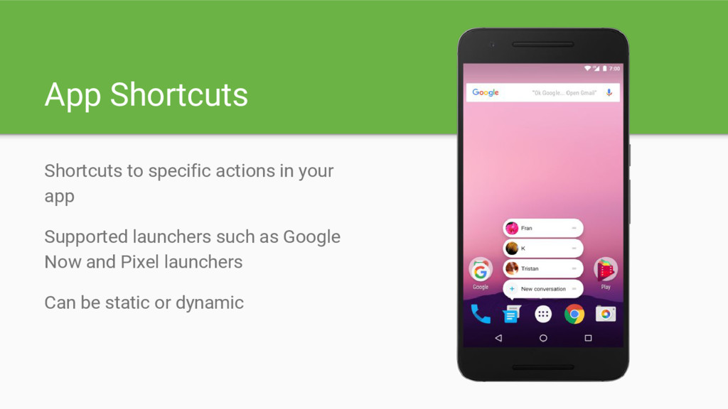 App Shortcuts Shortcuts to specific actions in ...