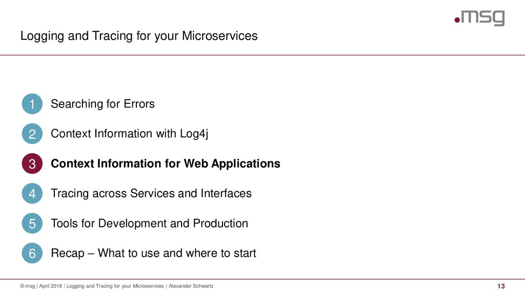 Logging and Tracing for your Microservices 13 ©...