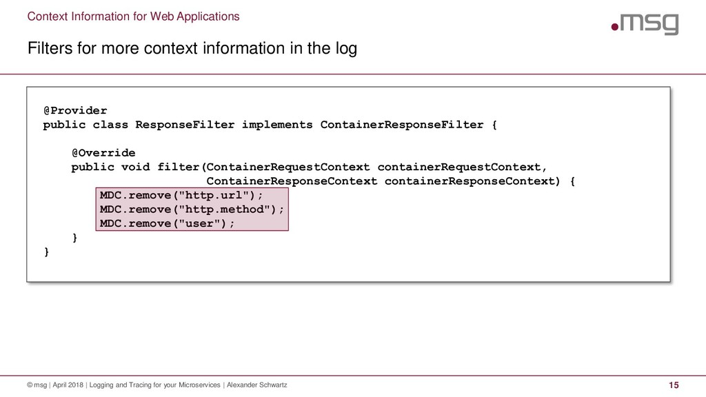 Context Information for Web Applications Filter...