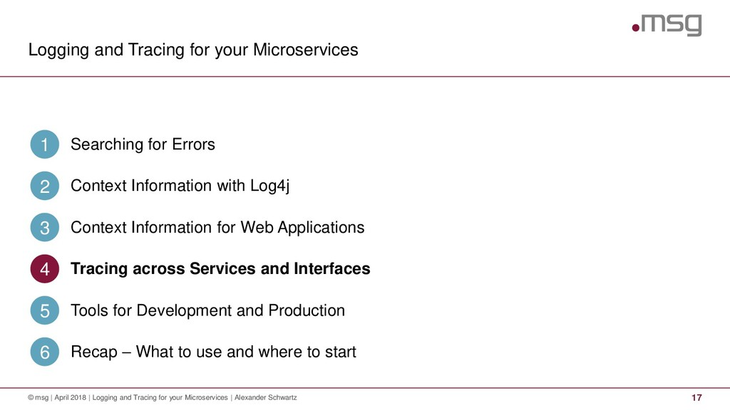 Logging and Tracing for your Microservices 17 ©...
