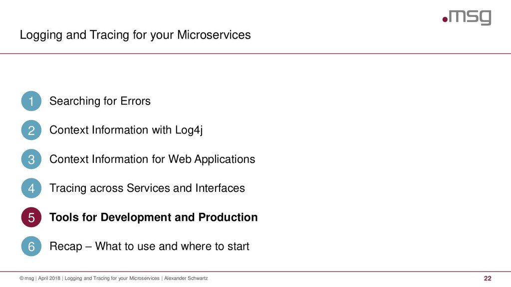 Logging and Tracing for your Microservices 22 ©...