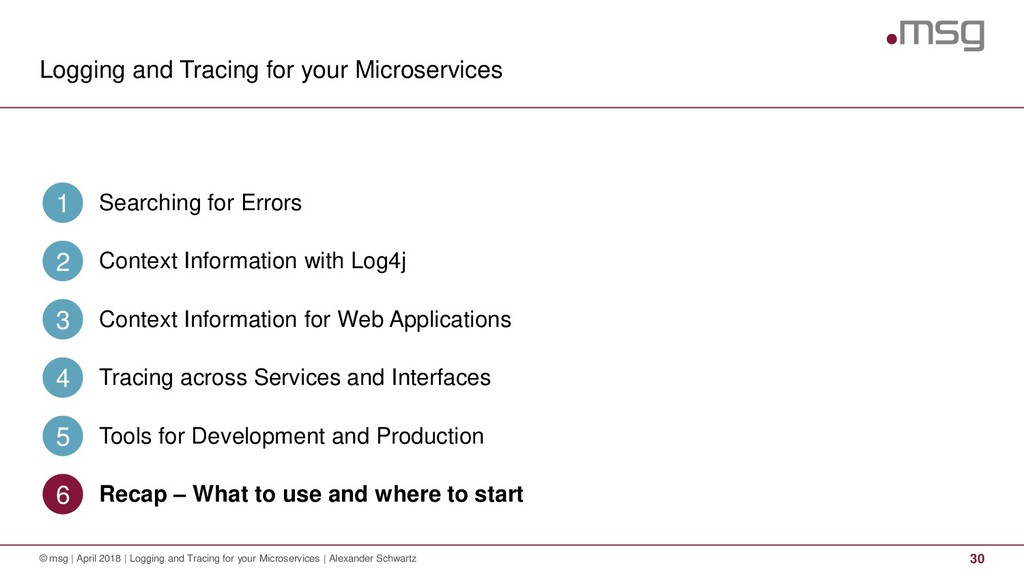 Logging and Tracing for your Microservices 30 ©...