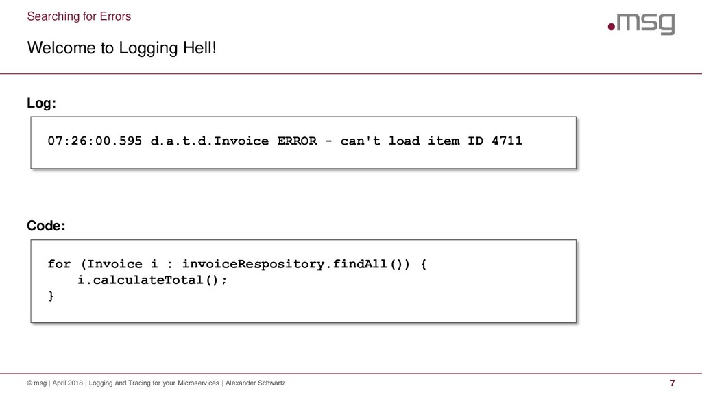 Searching for Errors Welcome to Logging Hell! ©...