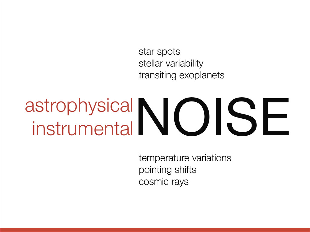 astrophysical instrumental NOISE star spots ste...
