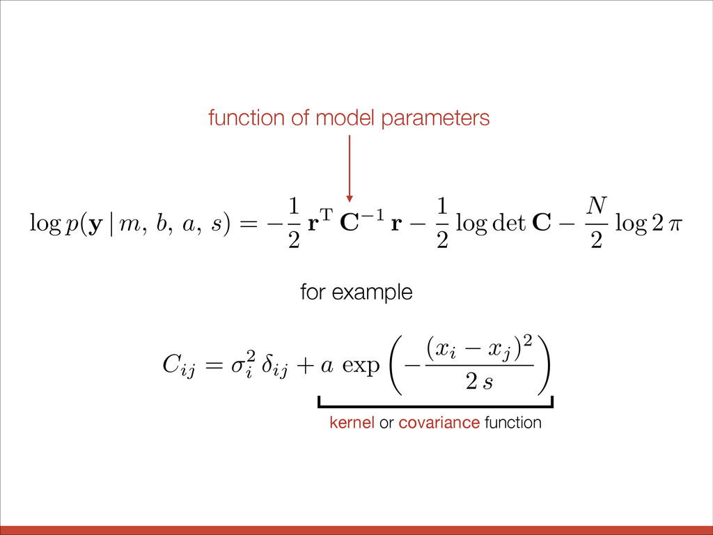 kernel or covariance function log p ( y | m, b,...