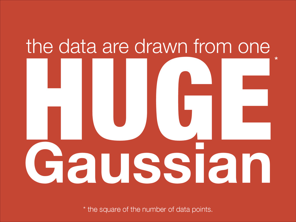 HUGE the data are drawn from one Gaussian * the...
