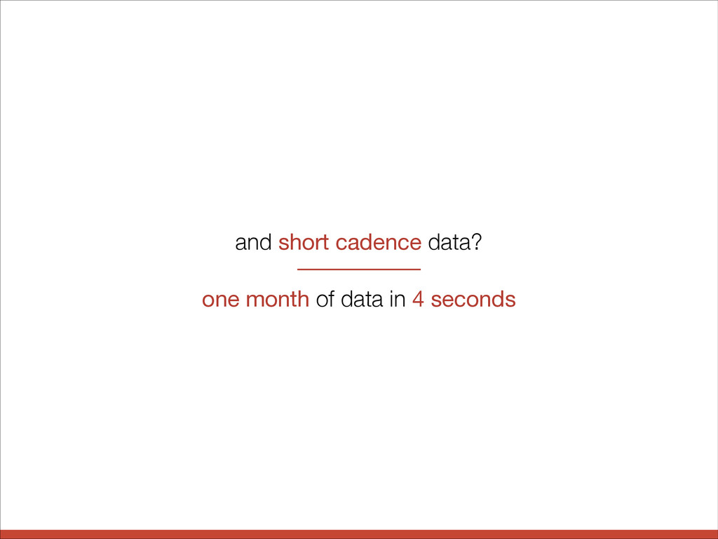 and short cadence data? one month of data in 4 ...