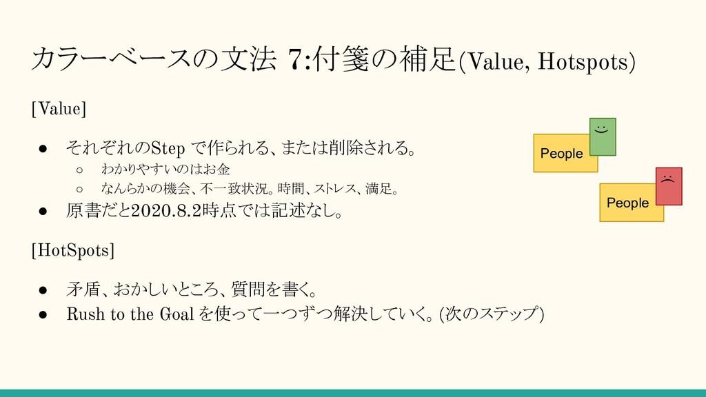 カラーベースの文法 7:付箋の補足(Value, Hotspots) [Value] ● それ...