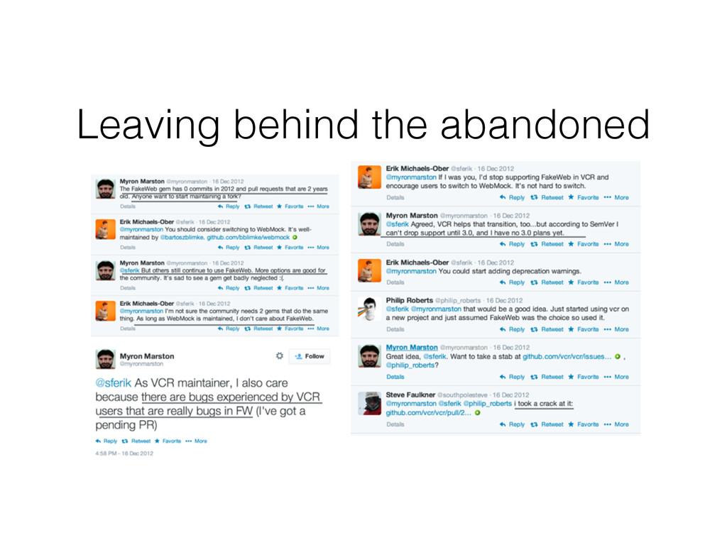 Leaving behind the abandoned