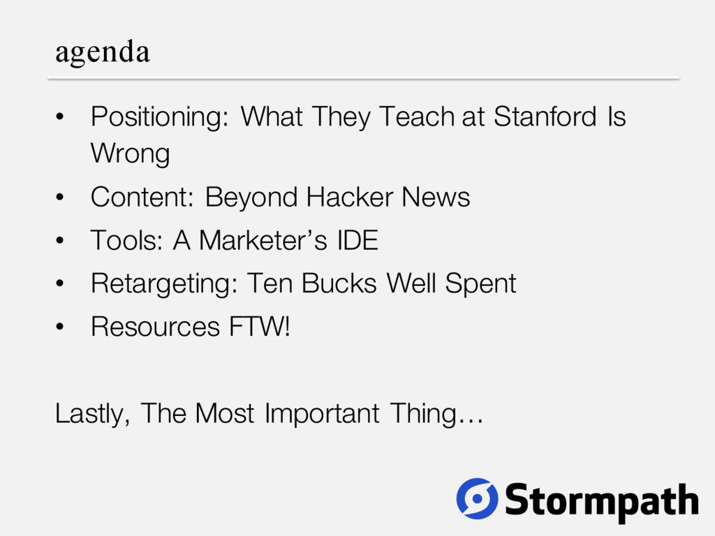 agenda • Positioning: What They Teach at Stanfo...