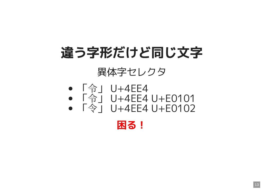 違う字形だけど同じ文字 違う字形だけど同じ文字 異体字セレクタ 「令」 U+4EE4 「令」 ...