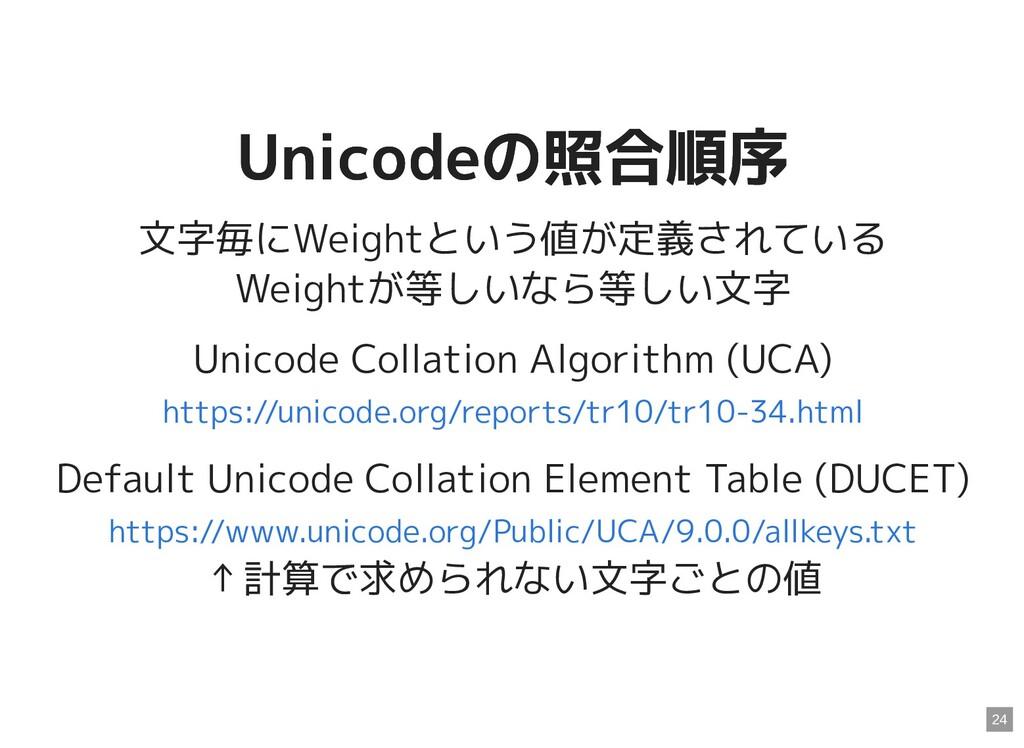 Unicodeの照合順序 Unicodeの照合順序 文字毎にWeightという値が定義されてい...