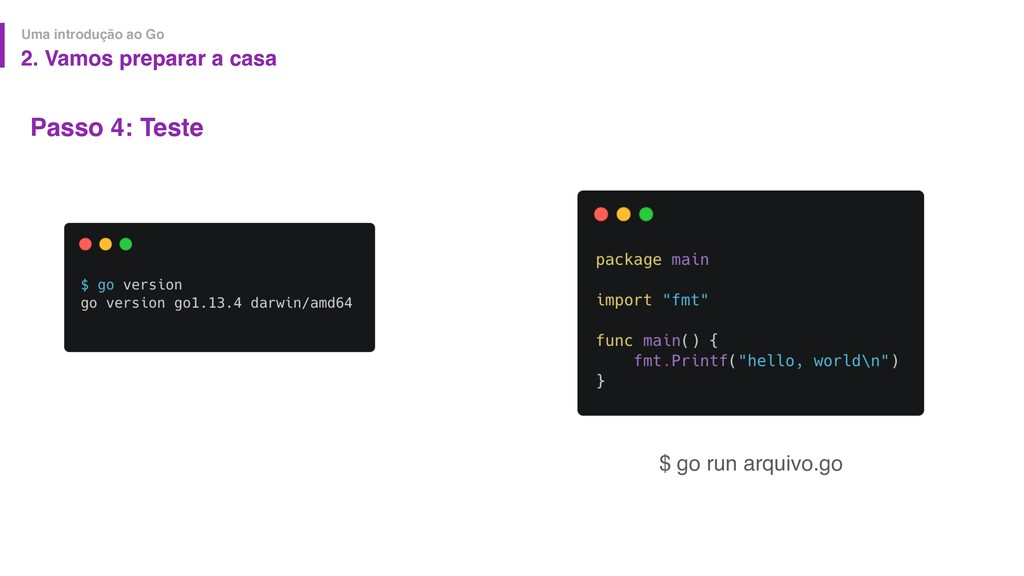 Passo 4: Teste Uma introdução ao Go $ go run ar...