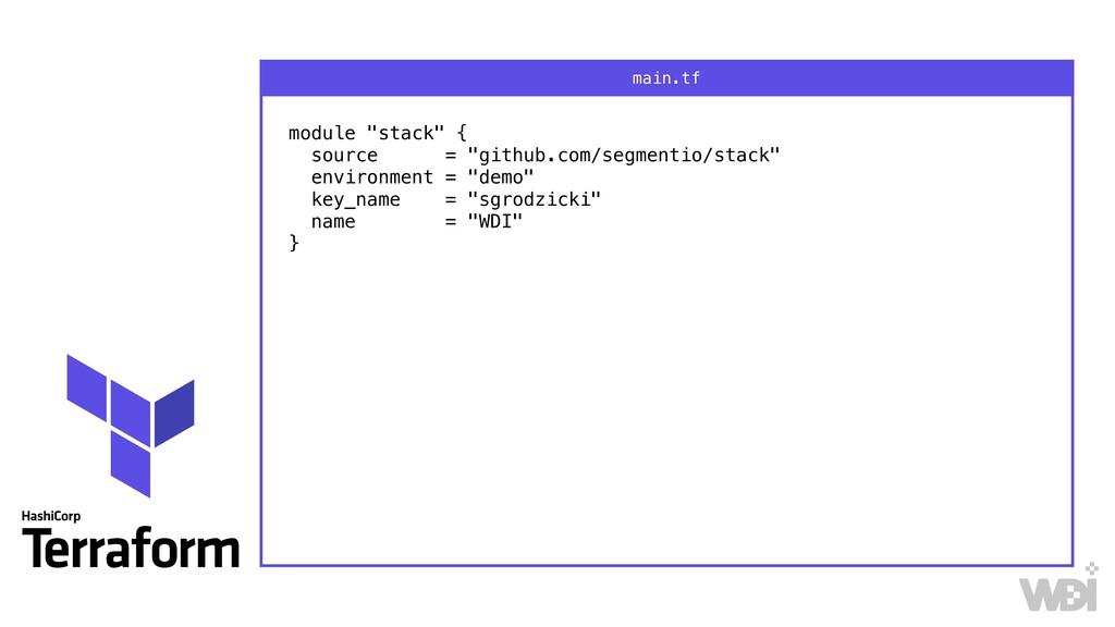 """module """"stack"""" { source = """"github.com/segmenti..."""