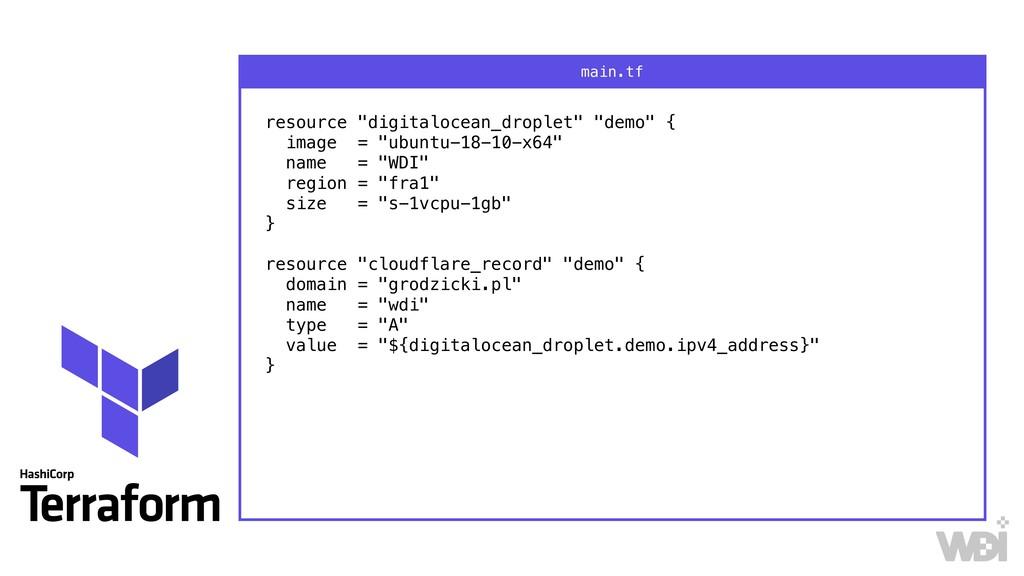 "resource ""digitalocean_droplet"" ""demo"" { image..."