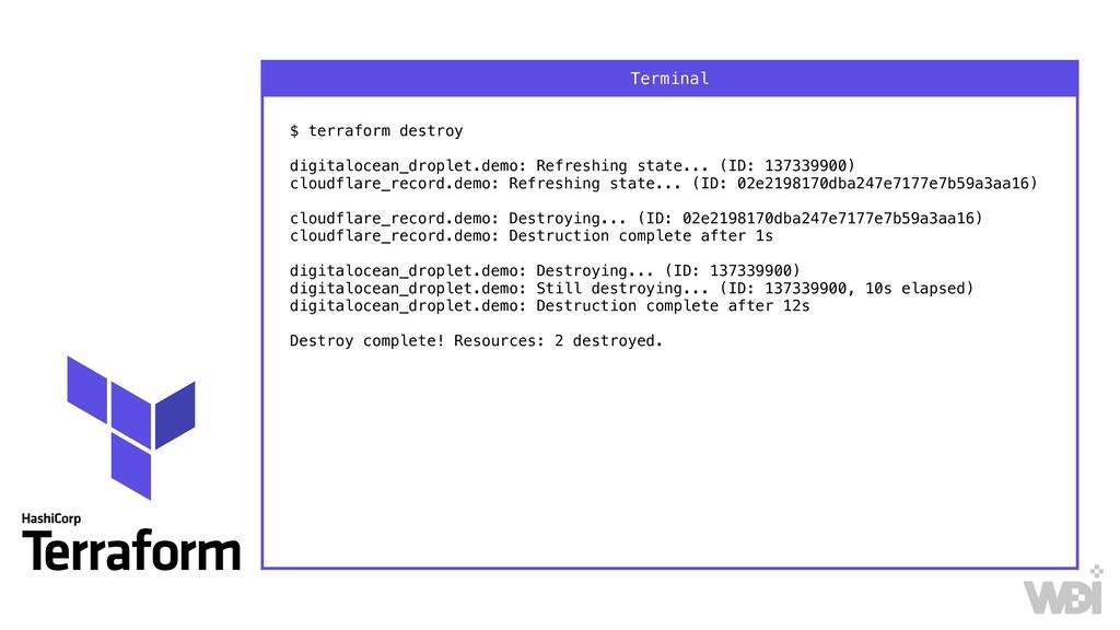 $ terraform destroy  digitalocean_droplet.dem...