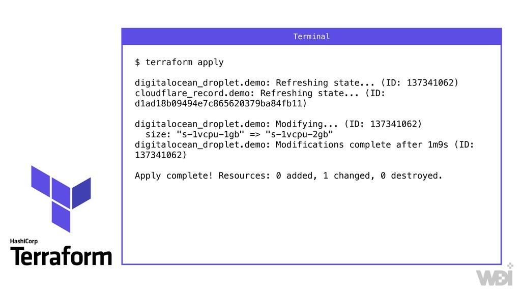 $ terraform apply  digitalocean_droplet.demo:...