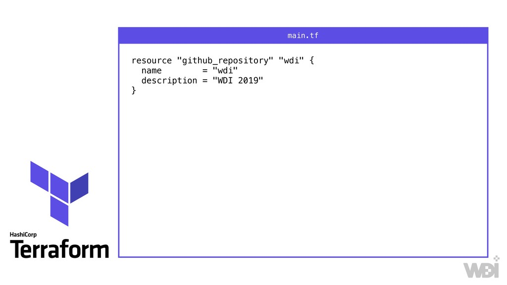 """resource """"github_repository"""" """"wdi"""" { name = """"w..."""