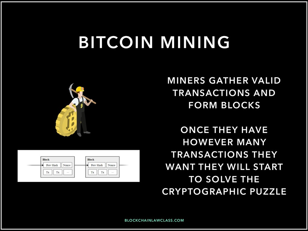 BITCOIN MINING MINERS GATHER VALID TRANSACTIONS...