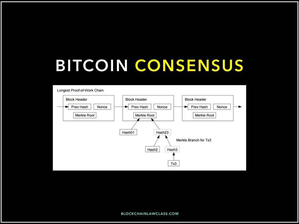 BITCOIN CONSENSUS BLOCKCHAINLAWCLASS.COM