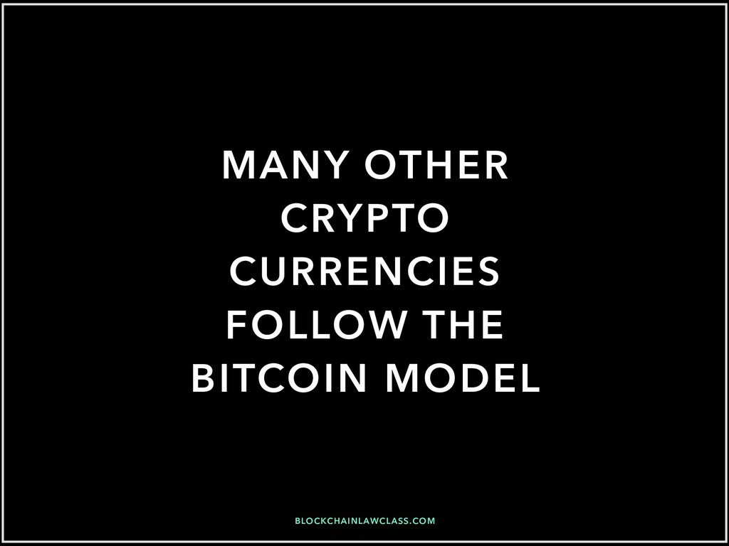 MANY OTHER CRYPTO CURRENCIES FOLLOW THE BITCOIN...