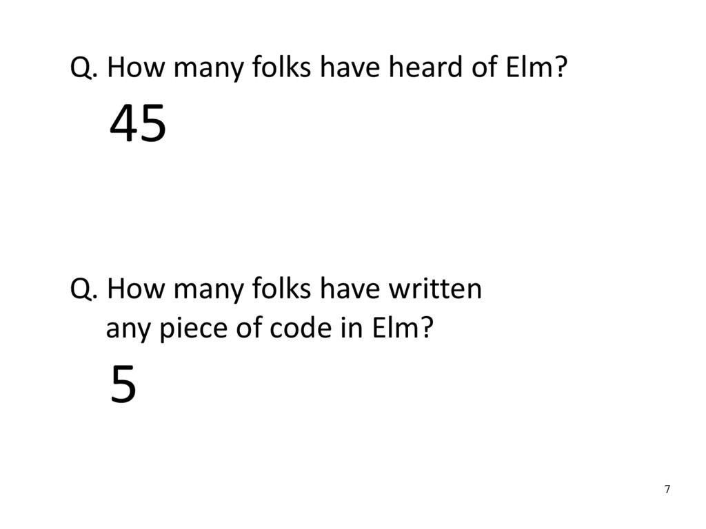 7 Q. How many folks have heard of Elm? 45 Q. Ho...