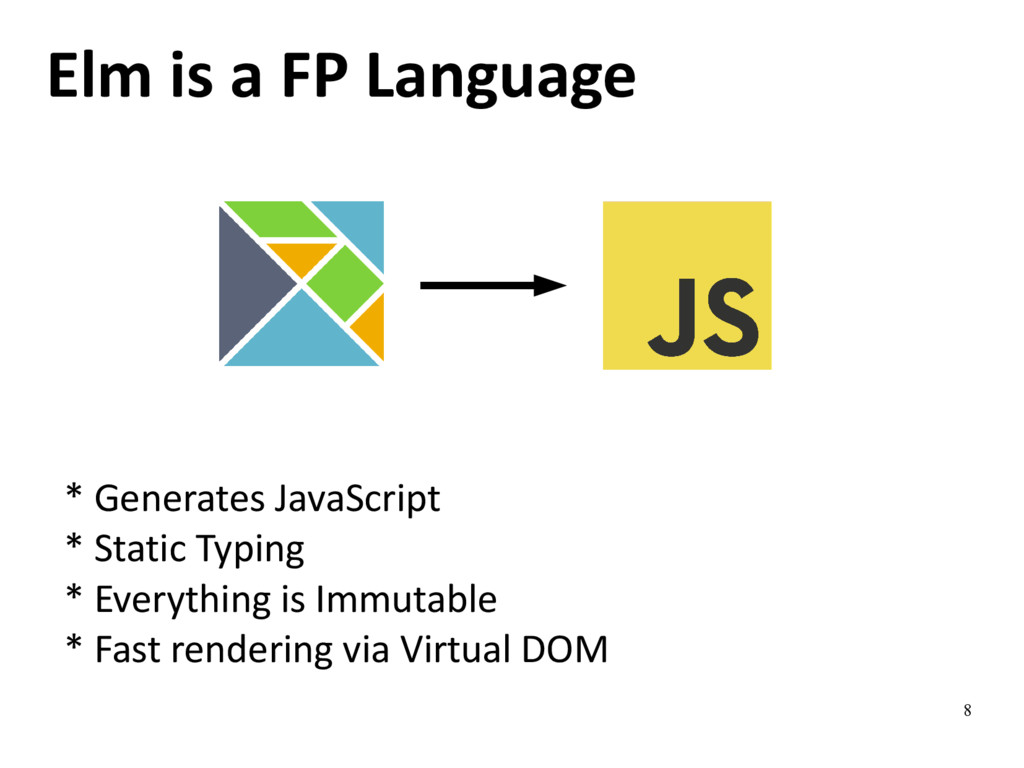 8 Elm is a FP Language * Generates JavaScript *...